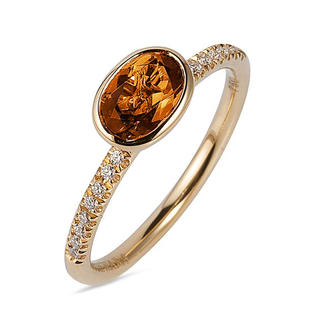 Swoonery- Gossip Collection Oval Stackable Ring With Citrine