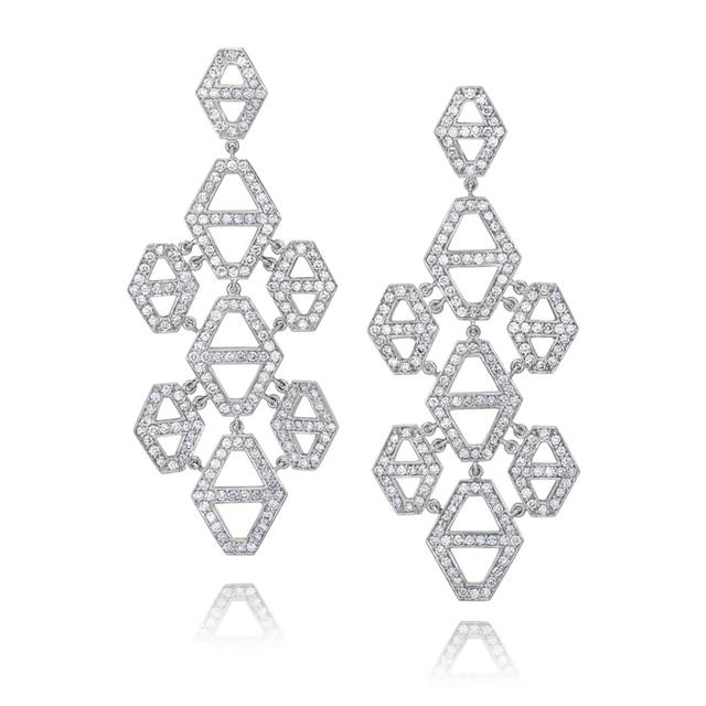Swoonery-Keynes Large Diamond Hexagon Chandelier Earring