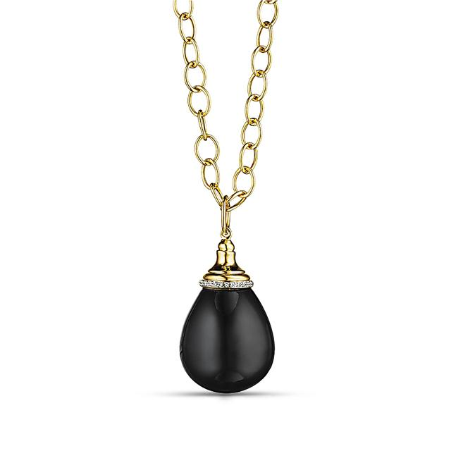 Swoonery- Black Spinel Mogul Drop Necklace with Diamonds