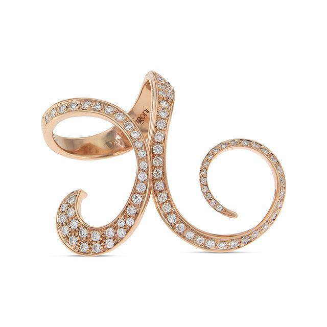 Swoonery- Rose Gold Full Diamond Ring Finger Curls Ring