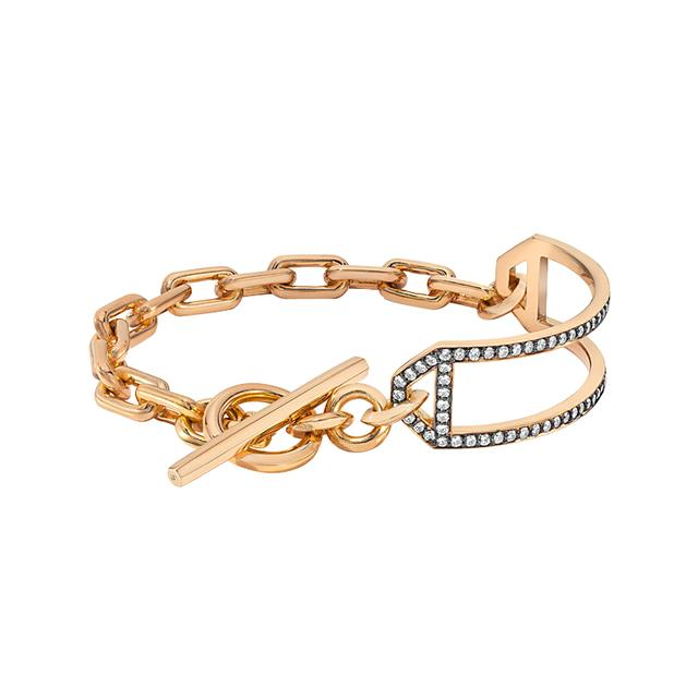 Swoonery-Saxon Open ID Bar on Chain Link Toggle Bracelet