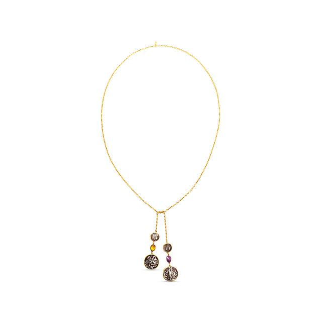 Swoonery-Empress Lariat Coin Gold Necklace