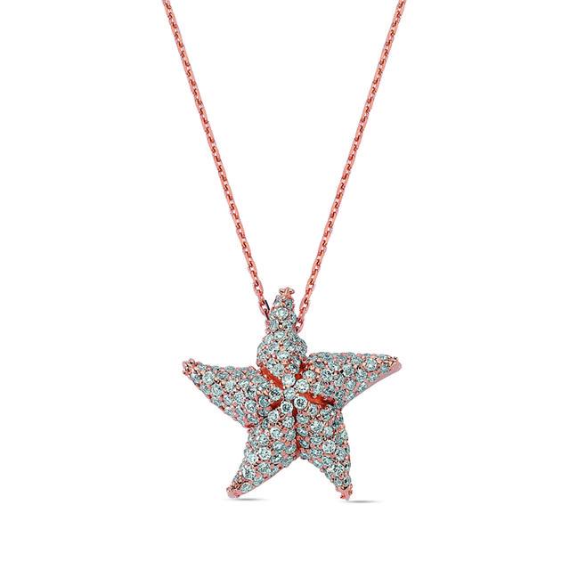 Swoonery-Aqua Light Starfish Necklace with Diamonds