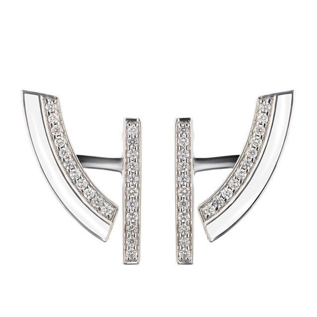 Swoonery-Demi-lune white earrings