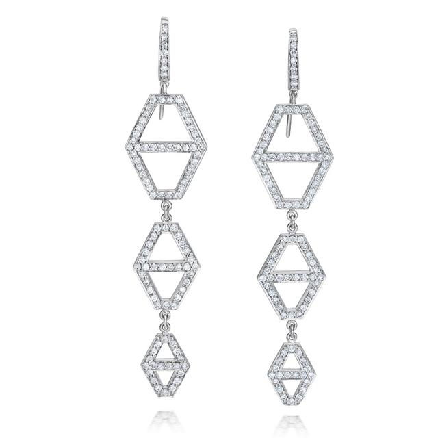 Swoonery-Keynes 3 Drop Graduating Diamond Hexagon Earring