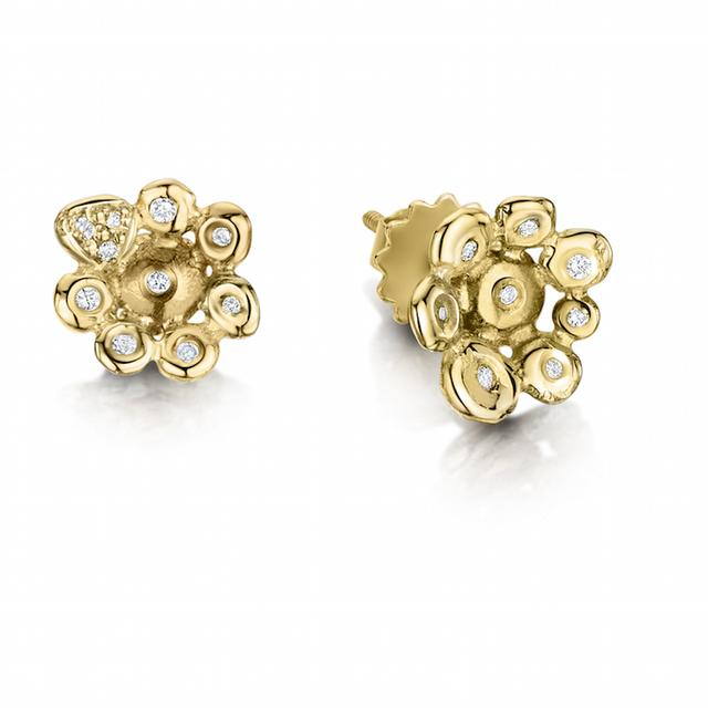 Swoonery-Coalescence Diamond Yellow Gold Stud Earrings