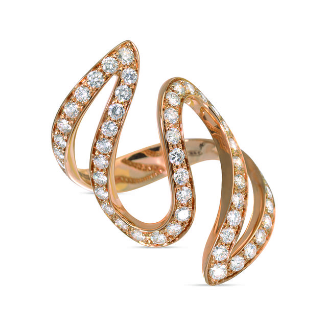 Swoonery- Rose Gold And Diamond Ivy 3 Ring