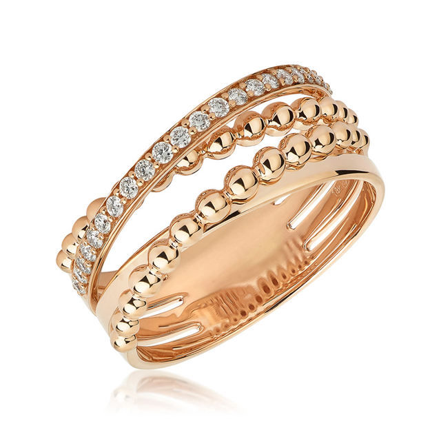 Swoonery-Rose Gold Bubbles Ring