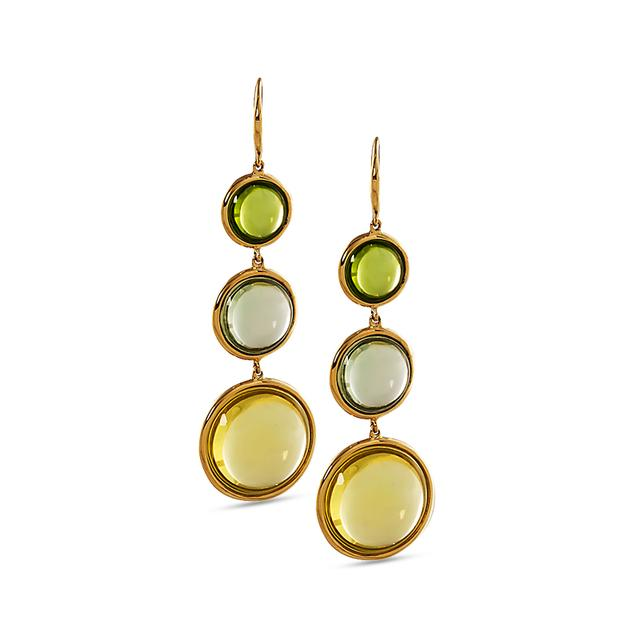 Swoonery-Mischief Collection Disc Earrings With Quartz, Prasiolite & Peridot