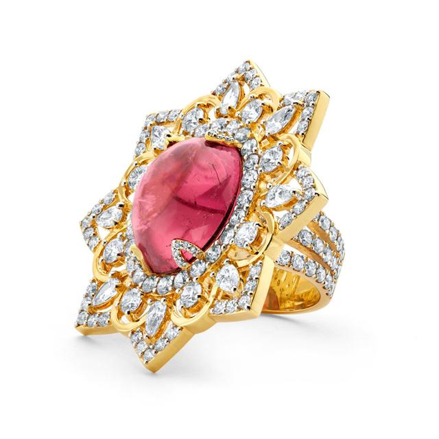 Swoonery-20K Rubellite Oval Ring