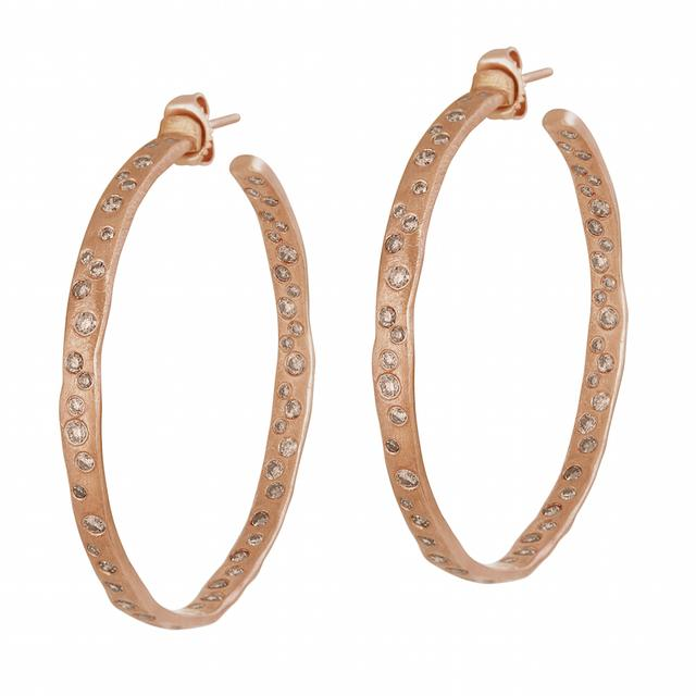 Swoonery-ROSE GOLD COBBLESTONE HOOPS