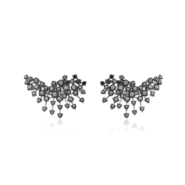 Swoonery-White Gold Luminus Earrings With Black Diamonds