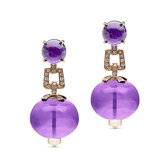 Swoonery-Beyond Collection Amethyst & Diamond Earrings
