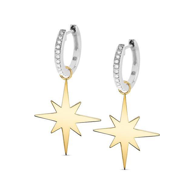 Swoonery-Small Starburst Charm Huggie Hoops
