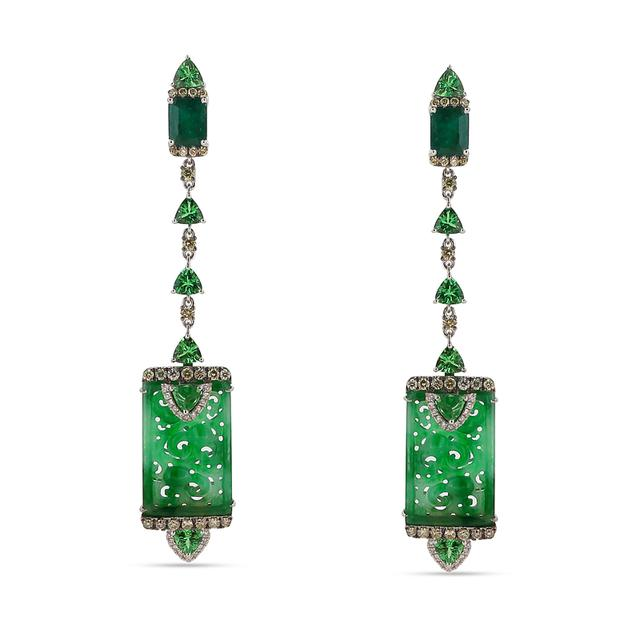 Swoonery-Green Goddess Earrings