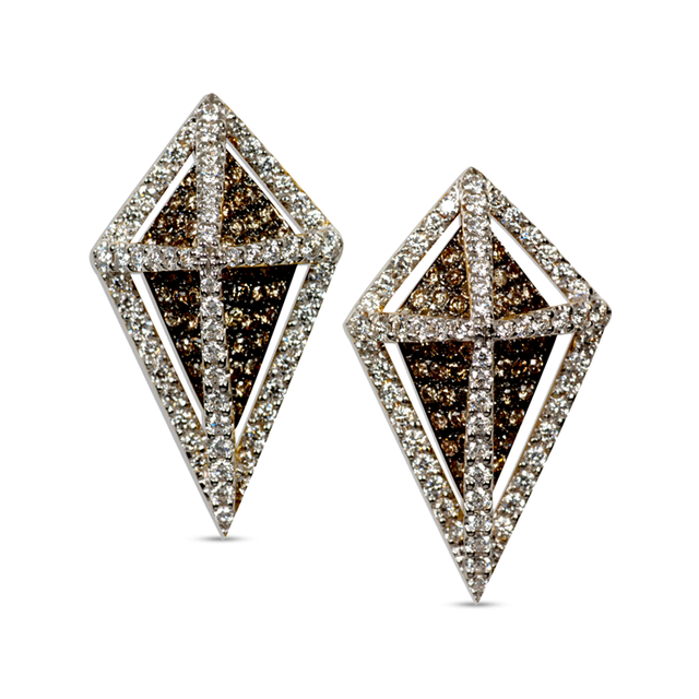 Swoonery-GeoArt White and Brown Diamond Earrings