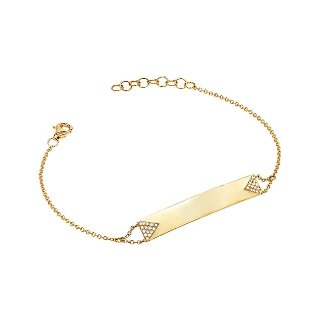 Swoonery-Diamond Double Triangle Namepate Bracelet