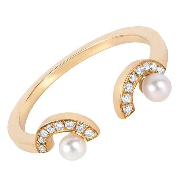 Swoonery-Gold Pearl Eyes Ring