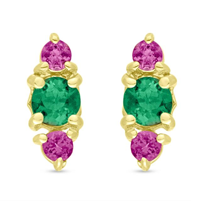 Swoonery-Green and Pink Tourmaline Stud Earring