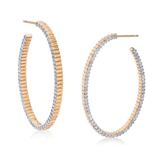 Swoonery-Clive Fluted Diamond Hoop Earrings