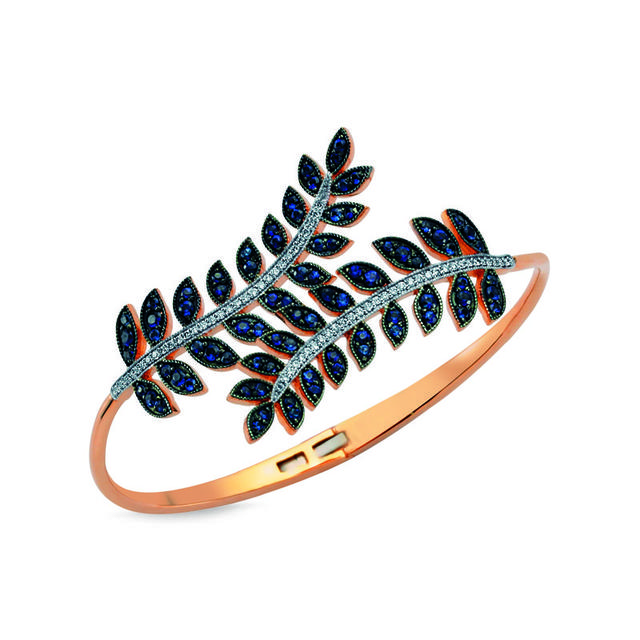 Swoonery-Sapphire Feather Cuff
