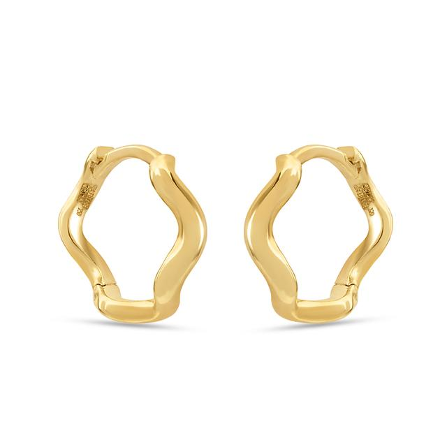 Swoonery-Wave Huggie Hoops in Yellow Gold