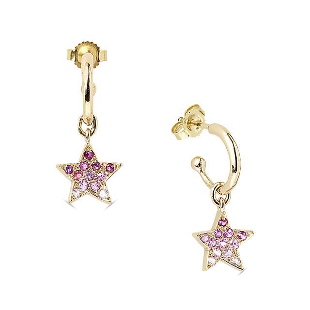 Swoonery-Pink Star Hoops