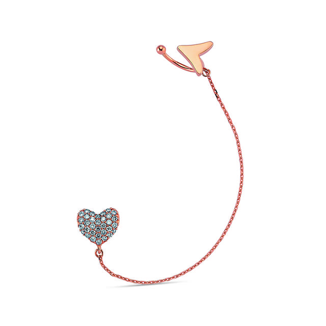 Swoonery-Queen of Hearts Single Ear Cuff with Diamonds