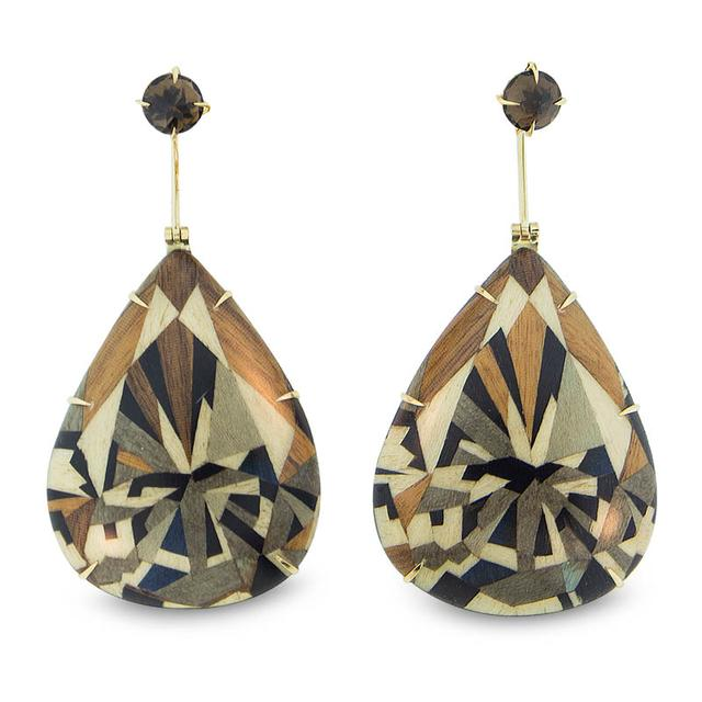 Swoonery-Marquetry Geometric Pear-shape Wood Earrings