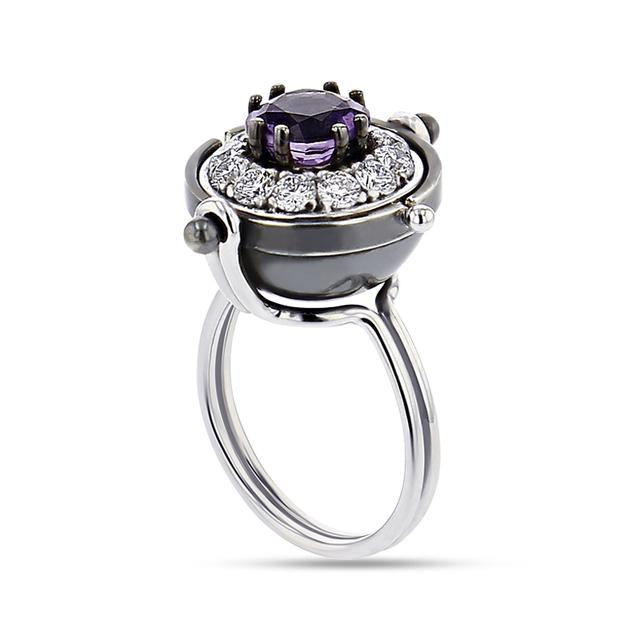 Swoonery-Amethyst and Diamond Sirius Sphere Ring