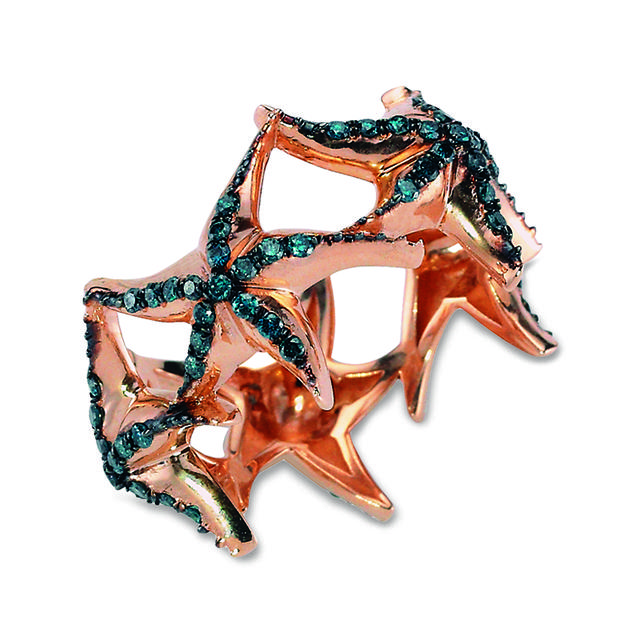Swoonery-Aqua Light Starfish Ring