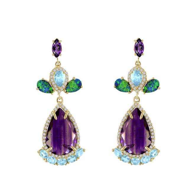 Swoonery-Rough Amethyst And Blue Zircon Earrings