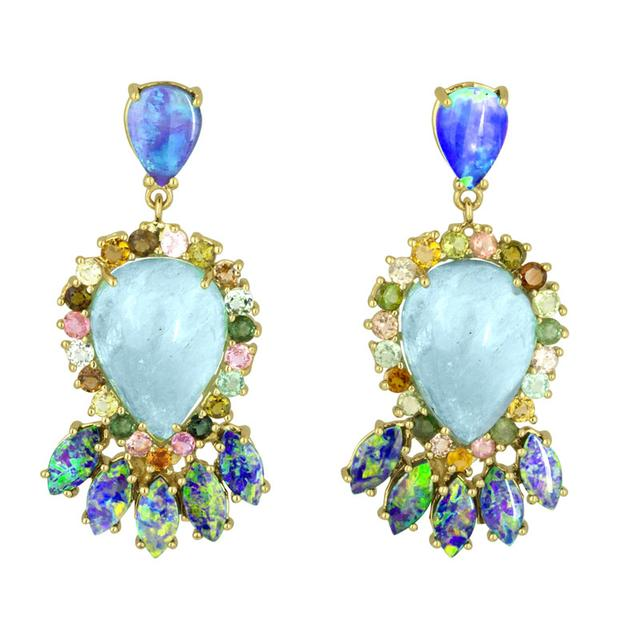Swoonery-Aquamarine And Boulder Opal Drop Earrings