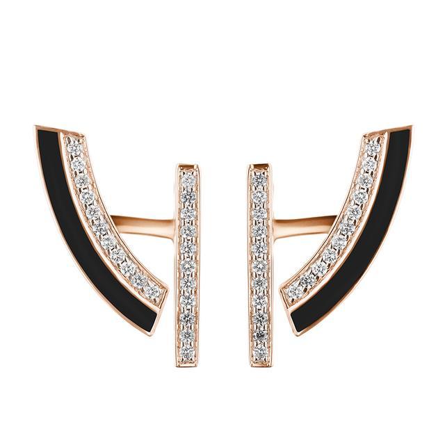 Swoonery-Demi-lune black earrings