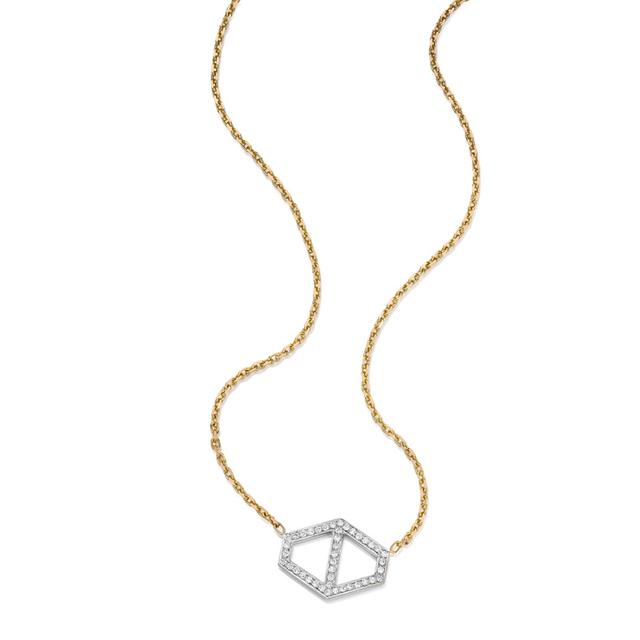 Swoonery-Keynes Large Signature Diamond Hexagon Pendant
