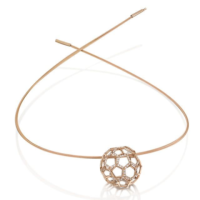 Swoonery-Air Sphere Diamond Rose Gold Necklet
