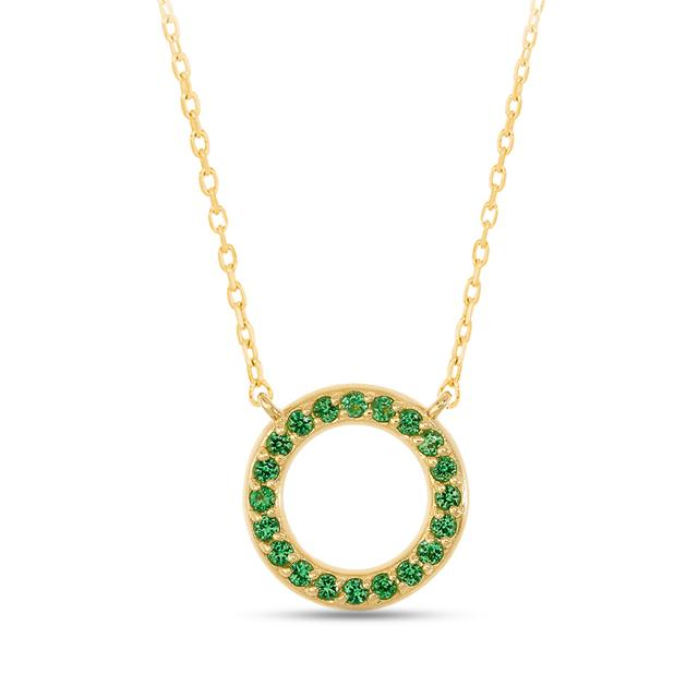 Swoonery-Round Necklace in Green Tsavorite