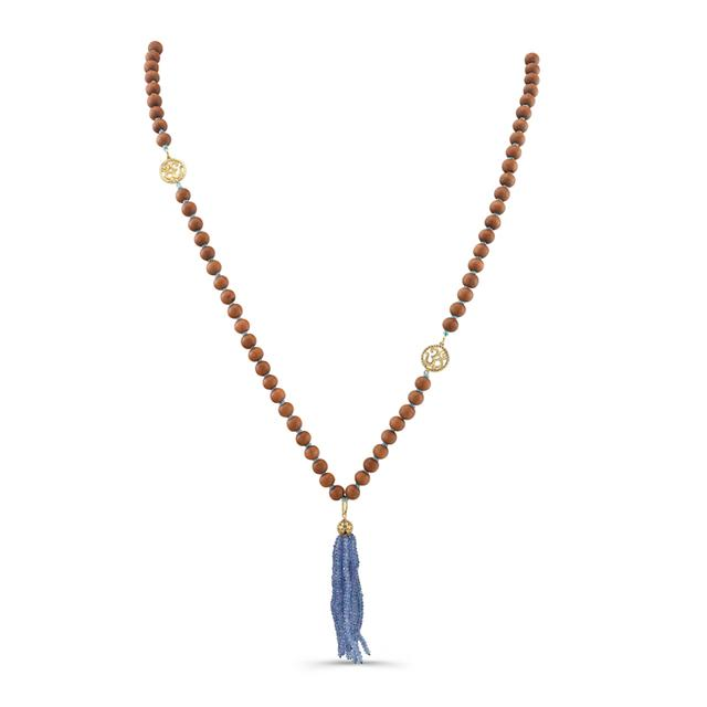 Swoonery-Tanzanite And Brown Wood Mala Necklace