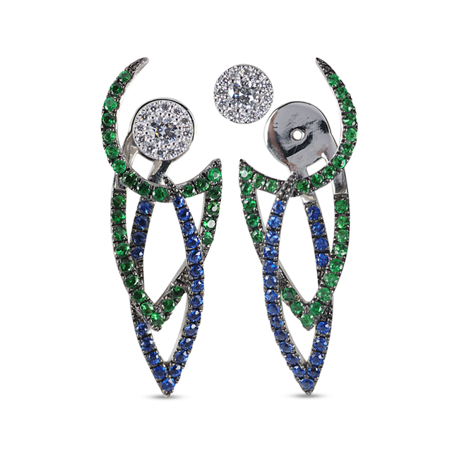 Swoonery-The Le Phoenix Intertwined I Sapphire and Tsavorite Ear Jacket
