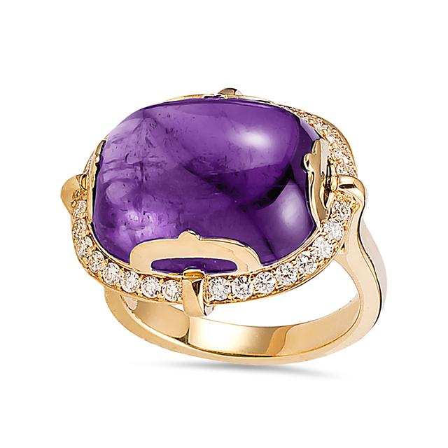 Swoonery-Rock-N-Roll Collection Cushion Cab Ring With Amethyst