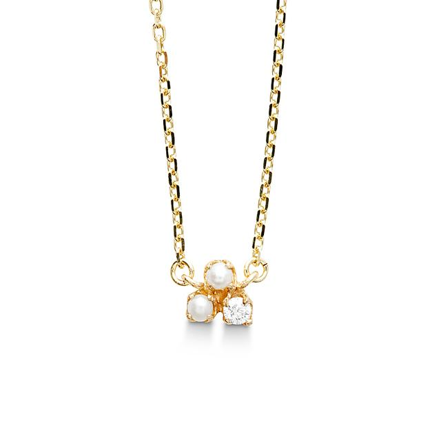Swoonery-Pearl And Diamond Pendant Necklace
