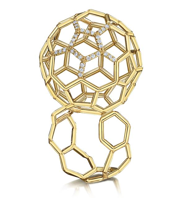 Swoonery-Air Sphere Diamond Yellow Gold Ring
