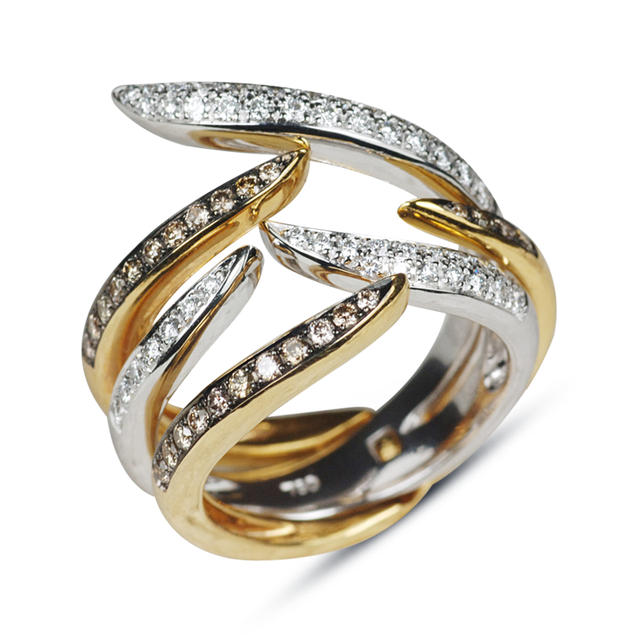 Swoonery-Yellow and White Gold Le Phoenix Duo Claw Stack Ring