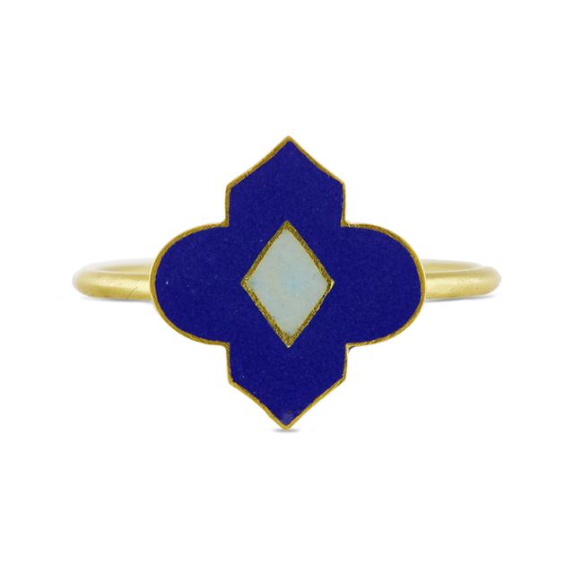 Swoonery-Blue Holi Enamel Ring