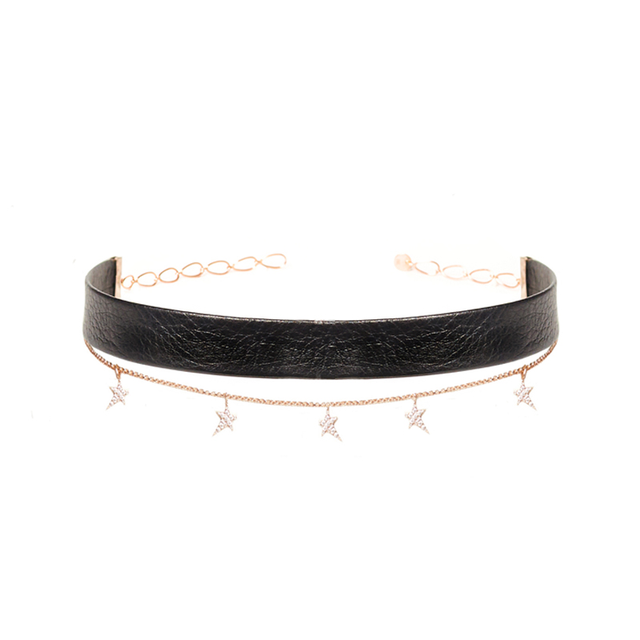 Swoonery-Star Chain Leather Choker