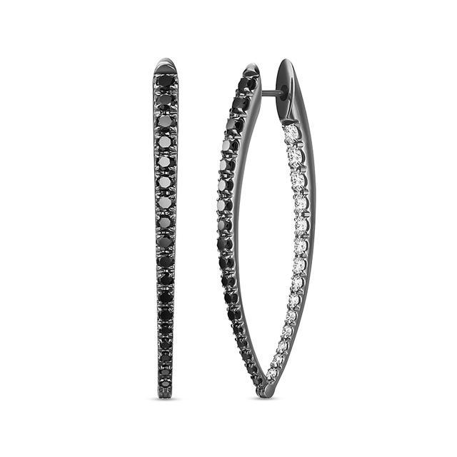 Swoonery-Black and White Diamond Large Cristina Earrings