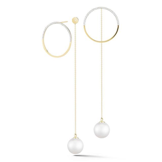 Swoonery-Half Moon Diamond Hoop with Pearl Drop