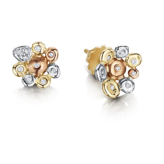 Swoonery-Coalescence Diamond Tri Gold Stud Earrings