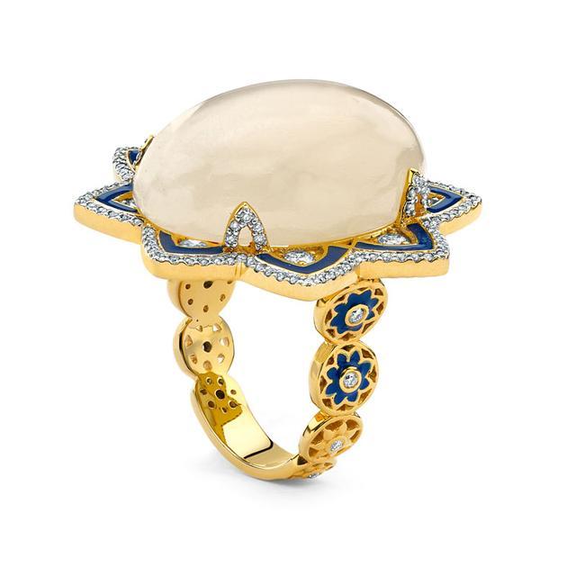 Swoonery-20K Moonstone Enamel Ring