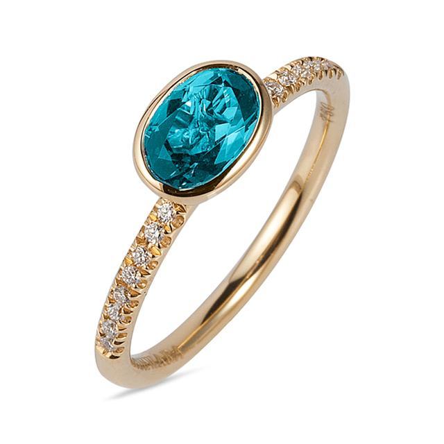 Swoonery-Gossip Collection Oval Stackable Ring With Topaz